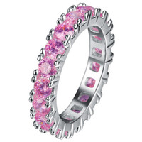 Wholesale Pink Cubic Zirconia Heart Ring - ecalon Brand Jewelry 925 Sterling Silver Ring Full Round 2 Carat Pink Sapphire CZ Diamond Engagement Wedding Rings For Women