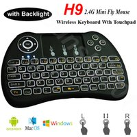 H9 2.4GHz Fly Air Mouse senza fili PC Mini tastiere con retroilluminazione Touchpad VS Rii i8 Controllo multimediale a distanza per Android TV Box IPTV