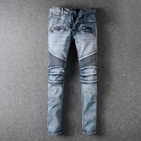 Wholesale European Classic Clothes - High Fashion Pierre Classic Ripped Jeans Men Designer Straight Mens Denim Jeans Famous Brand Vintage Biker Jeans Clothing Trousers Cotton