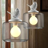 endüstriyel tasarımcılar toptan satış-Endüstriyel vintage kolye ışık orijinal kuş tasarımcı cam lamba gölge E27 kolye lamba tutucu loft bar lambaları Edison ampul