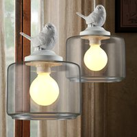 Wholesale Vintage Glass Lamp Shades - Industrial vintage pendant light original bird designer glass lamp shade E27 pendant lamp holder loft bar lamps Edison bulb