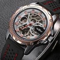 Wholesale Case Hand Strap - Winner automatic Mechanical self-Wind skeleton watch with calendar Luxury men silica gel Watch strap Stainless Steel case dress wrist watche