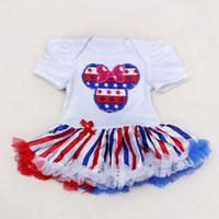 vestidos del 4 de julio al por mayor-recién llegados American Flag 4 de julio Día de la Independencia baby tutu dress Vestido de la bandera americana BABY Bag fart falda envío gratis