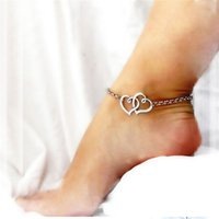 Wholesale Christmas Gift Wholesale Deal - 2016 Best Deal New Fashion Jewelry Double Heart Chain Beach Sexy Sandal Anklet Ankle Bracelet for Lady Perfect Gift