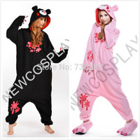 Wholesale Halloween Bear Costume Men - Wholesale-2016 Anime Gloomy Bear Animal Black Pink Onesie for Adults Men Women Couples Cosplay Pajamas One Piece Halloween Costumes