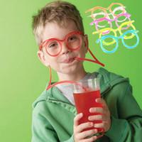 óculos de diversão para crianças venda por atacado-Hot Crazy DIY Bebida palha Fun Diversão Engraçado Macio Óculos de Palha Único Tubo de Bebida Flexível Crianças Acessórios de Festa