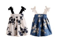 Wholesale Inexpensive Girls Christmas Dresses - 2016 new girl summer dress pretty bows baby camisole skirt 2-7 years inexpensive child print dress in stock 6pcs A34