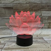 Modelo Visual Abstract Blooming Lotus From 3D Night Light Ilusão óptica 7 Color Changing Night Light Touch Switch LED Lampada de mesa