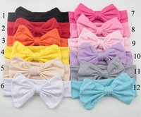 Wholesale Toddler Cotton Headbands - 24 Pcs lot New Fashion Baby Knot Headband Solid Cotton Hair Bow Toddler Handmade Stretch Headwraps With Bow Boutique Cute Hair Accessories