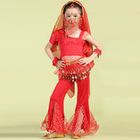 Wholesale Yellow Dance Costumes - 2016 New Arrival Girls Belly Dance Costume Red Yellow Rose Kids Indian Dance Costumes Children Bollywood Dance Clothes DQ2001