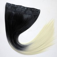 Wholesale ponytails for sale - Synthetic Ponytails Clip in hair g inch ombre B two colors straight hair extensions hot sale