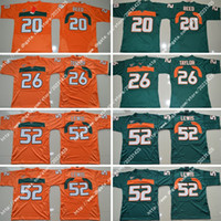 Wholesale Miami Embroidery - NWT Newest Miami Nik Hurricanes #20 Ed Reed #52 Ray Lewis #26 Sean Taylor Embroidery Stitched Men's America College Football Limited Jerseys
