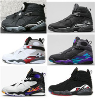 Wholesale Three Stretch - New 8 8s Chrome Aqua Black Purple Basketball Shoes Men 8s Playoffs Three Peat 2013 Release Sneakers With Shoes Box