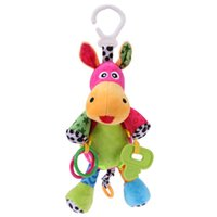 Atacado - Baby Rattle Music Animal Donkey Plush Doll Toy Infant Pull Bell Rattle Musical Box Colorido Teether Chocalhos para bebê Toy
