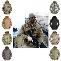 Wholesale Reversible Fleece - The shark skin soft shell jacket camouflage Hoodie fleece waterproof mountaineering warm clothes