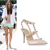 Wholesale Sexy Stud Dress - Fashion Rivet Shoes Sexy Studs Woman Pumps Pointed Toe Ankle Strap Heels Ladies Sexy Shoes High Heels Bridal Shoe