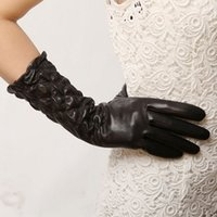 Wholesale Womens Leather Opera Gloves - 2016 Promotion New Solid Wrist Adult Fashion Brand Leather Gloves Elastic Genuine Sheepskin Womens Winter Middle Style L009nn
