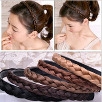 Wholesale Hair Style Korea - color choose New Women Vintage Wig Headband Braids Hair Band Girls Korea Style Headband Lady Hair Accessories