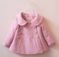 Wholesale Dolls Coats - 2016 baby fashion autumn & winter coat double-breasted doll collar woolen coat 2-7 years girls short style windbreaker jacket 5pcs D3