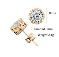 Wholesale Earing Pair - New Fashion Men Women Metal Rhinestone Crystal Elegant Ear Stud Earrings earing rhinestone earrings pair steel earrings woman