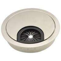 настольные дыроколы оптовых-Оптовая продажа-SOSW-серебряный тон 60 мм круглый Grommet кабель отверстие Крышка для компьютера стол
