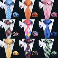 kravat seti hırka kol düğmesi toptan satış-Ekose Serisi Erkekler Klasik Ipek Mendil Kol Düğmeleri Kravat Seti Jakarlı Dokuma Toptan Kravat erkek Kravat Seti