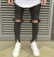 Wholesale Ankle Zipper Skinny Jeans - 2016 NEW high quality fashion casual men jeans Big hole in knee pants thigh and ankle zipper hiphop pants black jeans 29-36