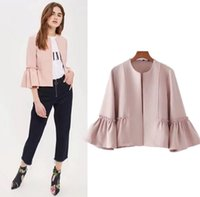 Wholesale Ladies Tops Butterfly Sleeve - Women Sweet Ruffles Jacket Open Stitch Design Flare Sleeve Coats Solid Ladies Casual Brand Outerwear Tops