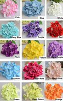 "Wholesale Wedding Flowers Garlands - 5.9"" Silk Hydrangea Flowers Heads DIY Artificial Flower Ball Wreath Garland Wall Made DIY Accessory for Home Wedding Decoration 50pcs lot"