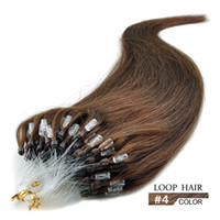 """Wholesale Brown Hair Extentions - 8A Micro Ring Extensions #4 Best Quality 16""""- 24"""" Human Loop Hair 0.5g strands 100 strands pack Micro Loop Hair Extentions"""