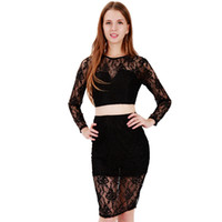 Wholesale Lace Top Solid Pencil Dress - Sexy Two Pieces Lace Dress Women Autumn Black Long Sleeve Top Package Pencil Bodycon Dress Sexy Club Robe Vestidos WB009072