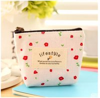 Wholesale Cheapest Credit - Soft Canvas wallet Cute Flower Small Coin Purse Key Car Pouch Little Money Bag,Girl's Lifesytle Women Cheapest Mini Short Coin 100pcs BY DHL