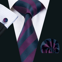 Classique Hommes soie Cravates Stripes Tie Sets Violet Mens Tie Cravates Hankerchief Cufflinks Jacquard Tissé affaires Wedding Party N-1405