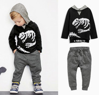 Wholesale Dinosaur Tracksuit - Spring Autumn Boys Set Baby Kids Sets Dinosaur Skull Hooded Long Sleeve Tops Sweatshirt + Pants 2pcs Tracksuit Children Outfits 11439