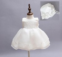 Wholesale Baby Dress Party Elegant - High Quality Baby Girls Elegant Communion Dresses NEW 2016 Child Sleeveless Princess White Party Wedding dress Christening Gown