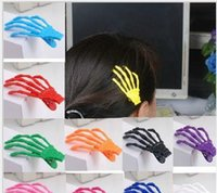 Wholesale Skull Barrettes - Wholesale 2016 Newest - 50pcs Hot Fashion Halloween Party Zombie Skeleton Claws Skull Hand Punk Barrettes Hair Clip