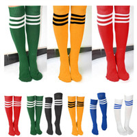 Wholesale Yellow Thigh High Socks - Wholesale-Men Women Girl Striped Over The Knee Thigh High Stockings Football Long Socks