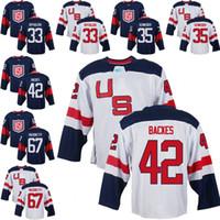 Wholesale ice hockey games - Mens Team USA 35 Cory Schneider 42 David Backes 67 Max Pacioretty 33 Dustin Byfuglien 2016 World Cup of Hockey Olympics Game Jerseys M-3XL