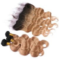 1b 27 koyu kök ombre saç toptan satış-Koyu Kökleri Bal Sarışın Ombre Saç Demetleri ile Dantel Frontal Kapatma 2 Ton 1B 27 Vücut Dalga Ombre Saç Örgüleri ile Dantel Frontal