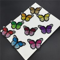 Wholesale Embroidery Butterfly Patch - 100pcs lot Butterfly Embroidery Patch Flower Appliques Iron On Patches For Clothes Bags Sew On Applique Clothing Accessory
