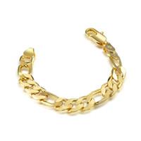 pulseira de 12mm de largura venda por atacado-Amarelo Banhado A Ouro Pulseiras Curb Cadeia Cuban Mens Jóias Moda, 8