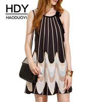 Wholesale Drawstring Dress - HDY Haoduoyi 2016 Women Fashion Black Print Halter Drawstring Crew Neck Off Shoulder Sleeveless Casual Loose Mini Shift Dress