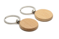 Wholesale Blank Wood Keychains - 25X Blank Wooden Key Chain Circle 1.25'' Keychains Free shipping