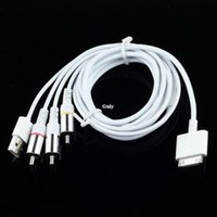 micro hdmi compuesto al por mayor-Freeshipping 3 in1 TV RCA Video Composite AV Cable + USB para iPad 2 3 / iPhone 4 / 3GS / iPod Touch