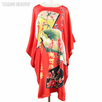 Wholesale Ladies Nightwear Hot - Wholesale- Hot Sale Red Ladies' Faux Silk Bathrobe Nightwear Kaftan Dress Vintage Kimono Gown Summer Casaul Home Dress Plus Size 6xl S0109