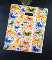 Wholesale Plastic Shopping Bags For Clothes - New Fashion 50pcs 25x35cm Plastic Shopping Bag Clothing Packing Pouch,Colorful Butterflies Print Shopping Gift Bags For Boutique