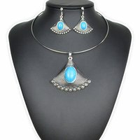 Wholesale Light Fan Colors - 4 Colors Vintage Faddish fan-shaped stripes Exaggerate Bohemia Turquoise Jewelry Sets Retro Necklace&Torques and Vintage Earrings For Woman