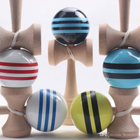 Wholesale Education Toys Wood - sales Stripes line Kendama Ball Big size 18.5*6cm Japanese Traditional Wood Kendama Ball Game Toy Education Gift Kendama Ball Wood Toys