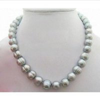 Wholesale Huge Gray Baroque Pearls - NEW 18 inch huge AAA12-13mm Natural south sea baroque gray pearl necklace 14k