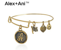 Wholesale Alex Ani Bracelet Silver - New 26 letter Alex and Ani adjustable Charm statement bracelets gold silver Wiring expandable pendant bangles band cuffs Christmas gift